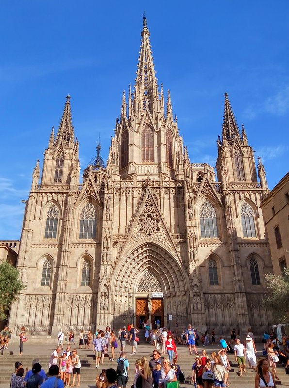 Editorial image of 'BARCELONA, SPAIN - JULY 8, 2016: Cathedral of the Holy Cross and Saint Eulalia, patron saint of Barcelona in Catalonia, Spain.'