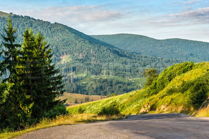 Stock image of 'Empty asphalt mountain road near the forest with cloudy sky in morning light'