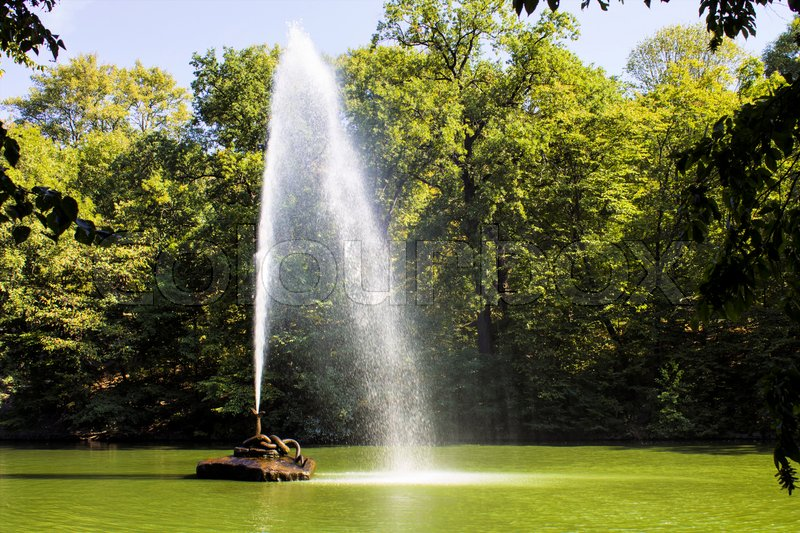 Stock image of 'Beautiful, bright, day, fountain, green, landscape, nature, park, pond, sunny.'