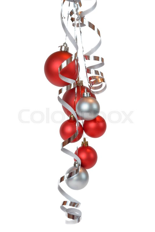 Stock image of 'Cluster from christmas balls on a white background'