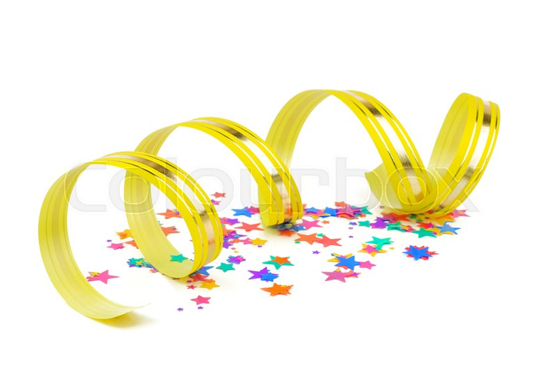 Stock image of 'confetti and ribbon on white background'