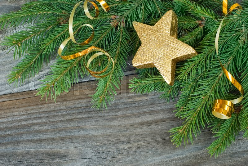 Stock image of 'Christmas composition with a golden decorations'