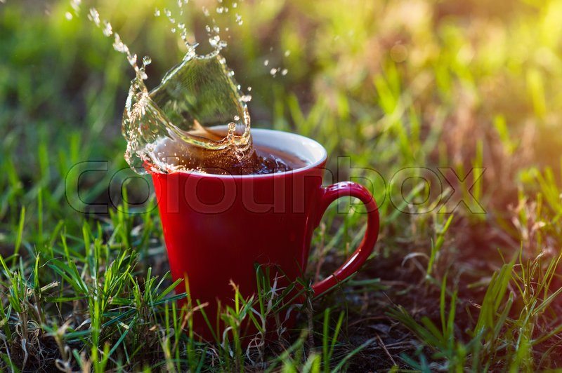 Stock image of 'red cup of coffee on the green grass.'