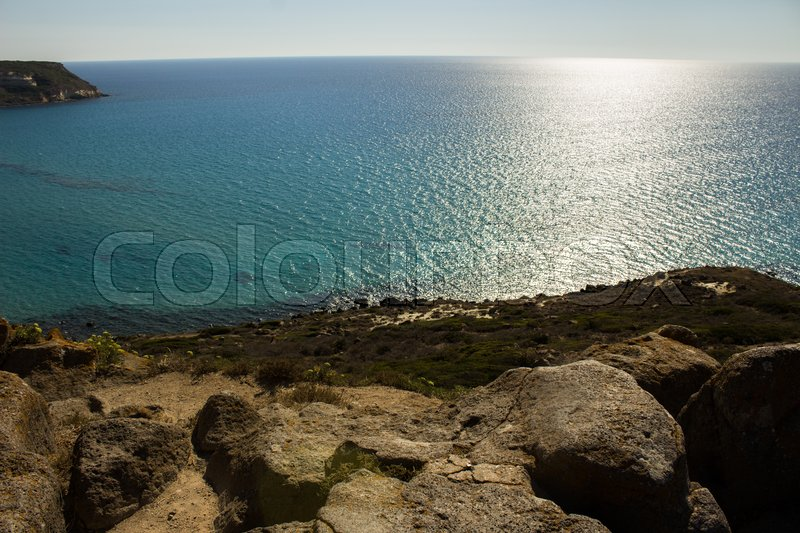 Stock image of 'top view of the Mediterranean sea with many shades of blue'