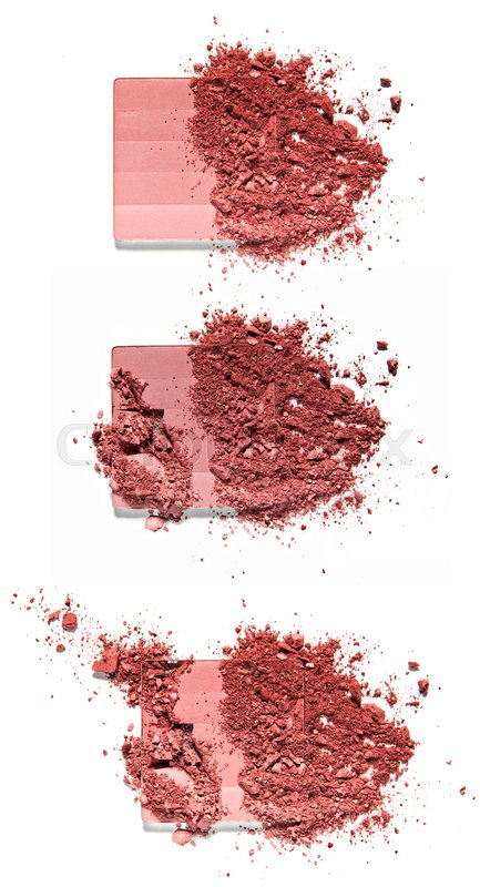 Stock image of 'Make up crushed powder on white background'