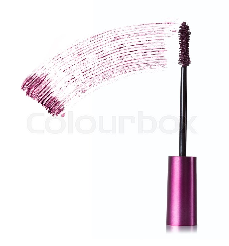 Stock image of 'purple stroke of mascara on a white background'