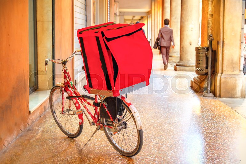 Stock image of 'Bicycle delivery red box bike'