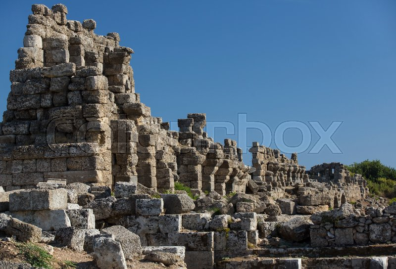 Stock image of 'The ruins of the ancient city of Side in Turkey'