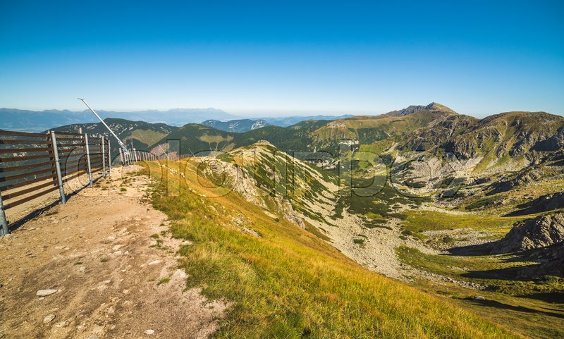 Stock image of 'Way Up to Top of Chopok Mount in Low Tatras National Park, Slovakia. High Tatras in Background.'