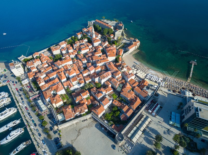 Stock image of 'Aerial View of Old Budva. Montenegro, Balkans, Europe. Budva - One of the Most Popular Resorts of Adriatic Riviera of the Mediterranean.'