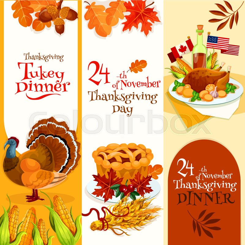 thanksgiving day dinner invitation banners set vector decoration