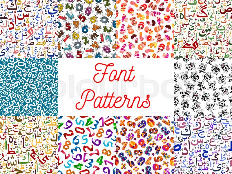 letters and numbers seamless patterns set with arabian calligraphy