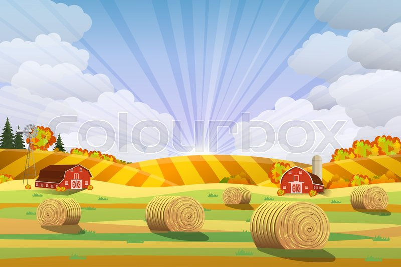 Stock image of 'Countryside landscape with haystacks on fields. Rural area landscape. Hay bales. Farm flat landscape. Organic food concept for any design Raster version'