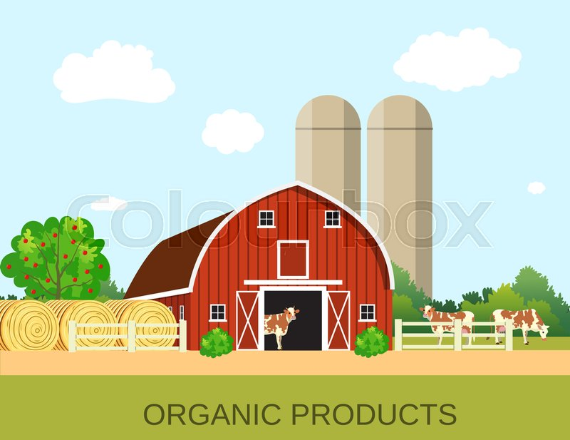 Stock image of 'colorful farm life with natural economy. Farm flat landscape. Organic food concept for any design, web, agricultural application Raster version'
