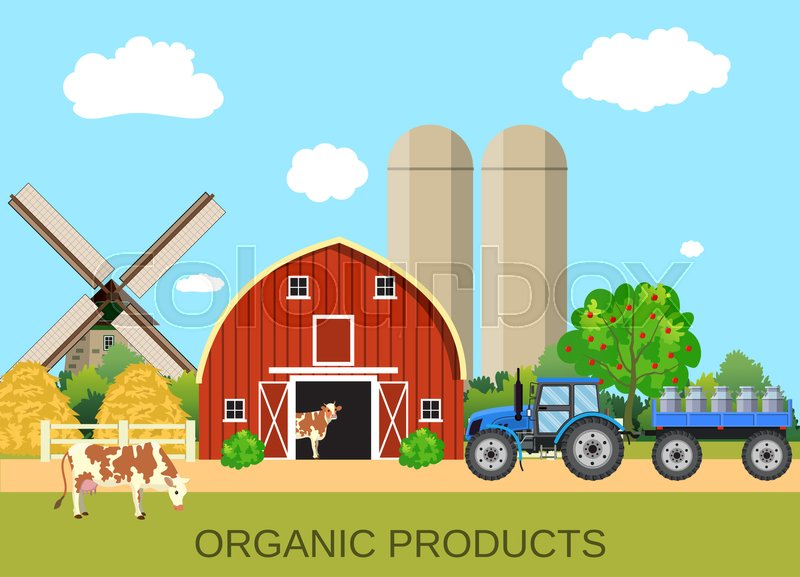 Stock image of 'colorful milk farm life with natural economy. Farm flat landscape. Organic food concept for any design, web, agricultural application Raster version'