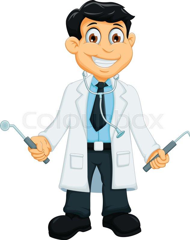 Vector Illustration Of Cute Dentist Cartoon Holding