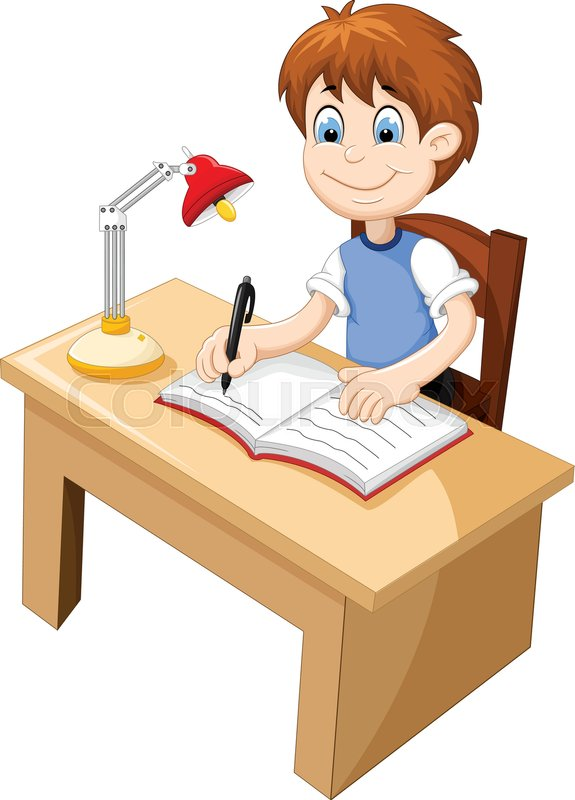 Vector Illustration Of Funny Boy Cartoon Studying At A