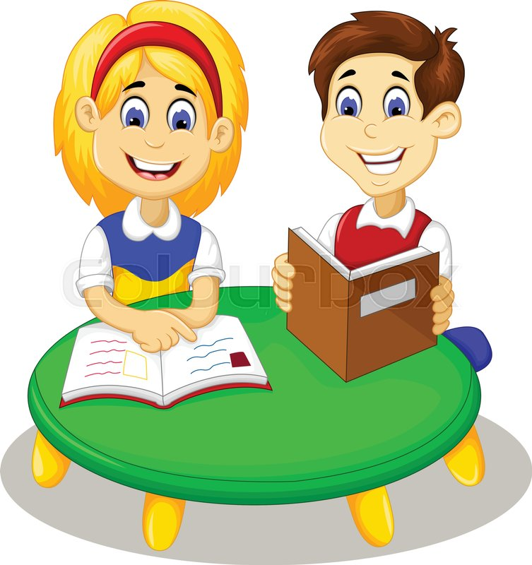 Vector Illustration Of Funny Little Girl And Boy Cartoon Studying Together