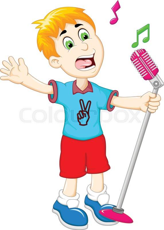 Vector illustration of funny little boy cartoon singing ...  Cartoon