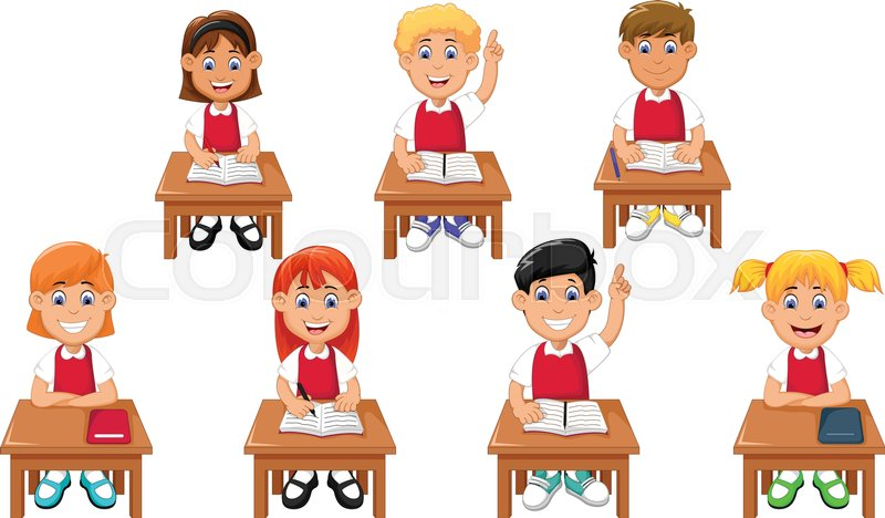 vector illustration of funny students stock vector