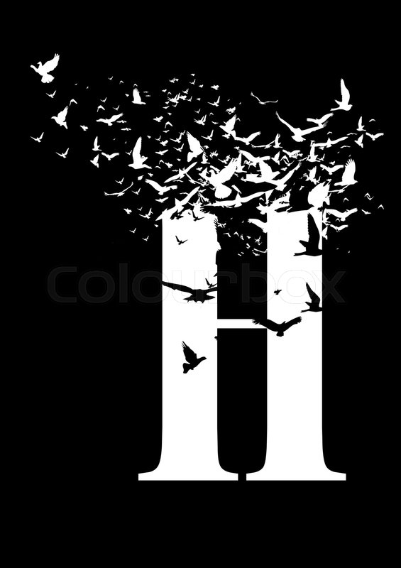 Stock image of 'Letter H on a black background with birds'