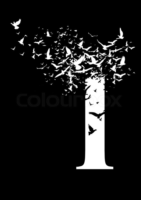 Stock image of 'Letter I on a black background with birds'