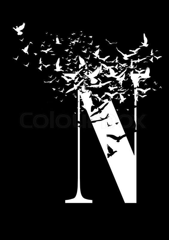 Stock image of 'Letter N on a black background with birds'