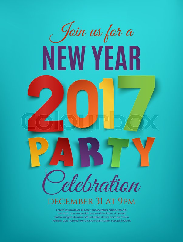 New Year 2017 Party Poster Template On Blue Background. Perfect For  Brochure Or Flyer. Vector Illustration. | Stock Vector | Colourbox