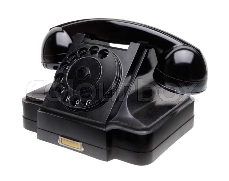 Stock image of 'Isolated objects: old black telephone, middle of 20th century, aged and scuffed, isolated on white background'