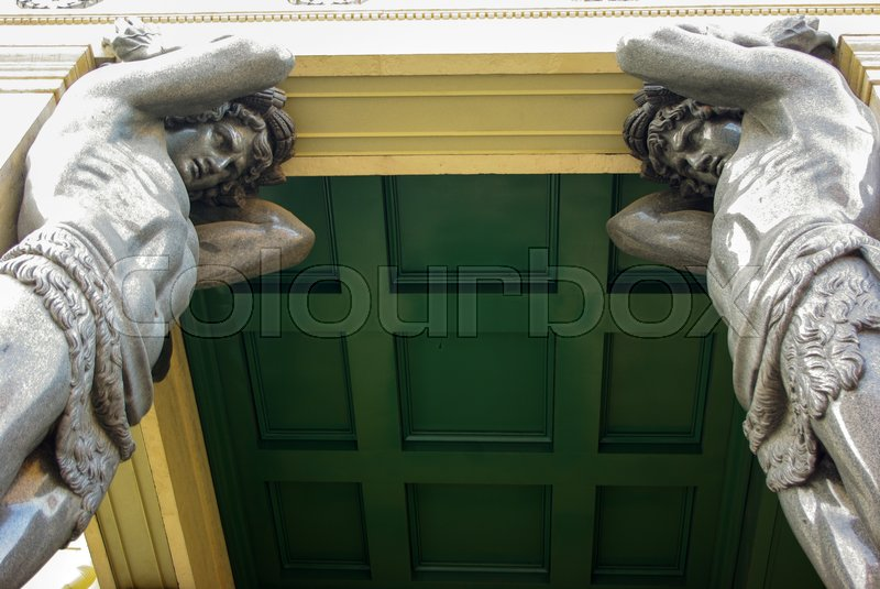 Stock image of 'a marble Atlantes, holding the roof of the Hermitage in St. Petersburg'