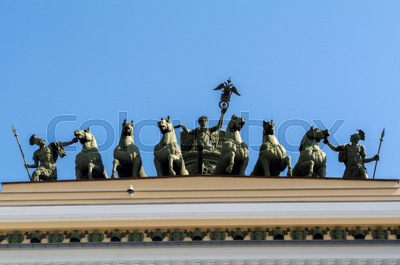 Editorial image of 'SAINT PETERSBURG - JUNE 05, 2014: detail - Chariot of Glory on the Triumphal Archof General Staff Palace Square. in St. Petersurg'
