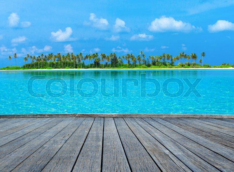 Stock image of ' tropical beach in Maldives with few palm trees and blue lagoon'