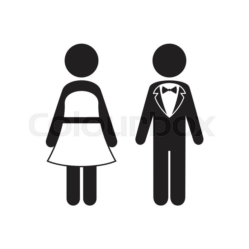 man and woman icons black tie dress code icon stock. Black Bedroom Furniture Sets. Home Design Ideas