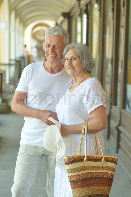 Stock image of 'Portrait of beautiful elderly couple outdoor ,close-up'