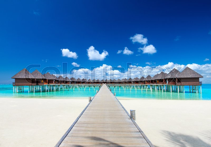 Stock image of ' beach with water bungalows at Maldives\\ '