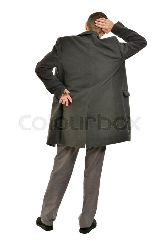 Stock image of 'Handsome Man in coat on a white background, back view'