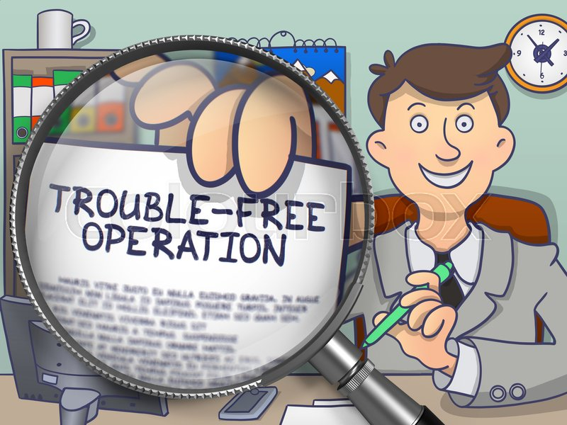 Stock image of 'Man Sitting in Offiice and Shows Paper with Inscription Trouble-Free Operation. Closeup View through Magnifying Glass. Multicolor Doodle Illustration.'