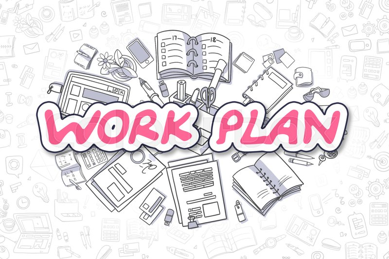 Stock image of 'Cartoon Illustration of Work Plan, Surrounded by Stationery. Business Concept for Web Banners, Printed Materials. '