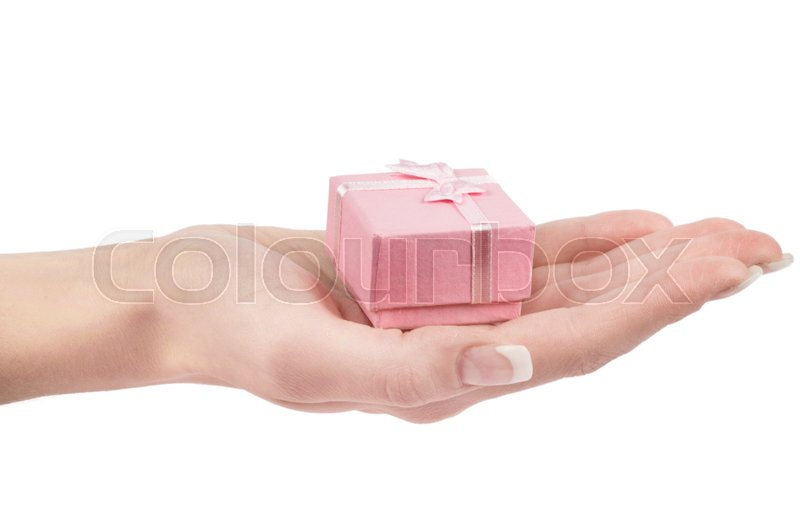 Stock image of 'Hand and gift isolated on white background'
