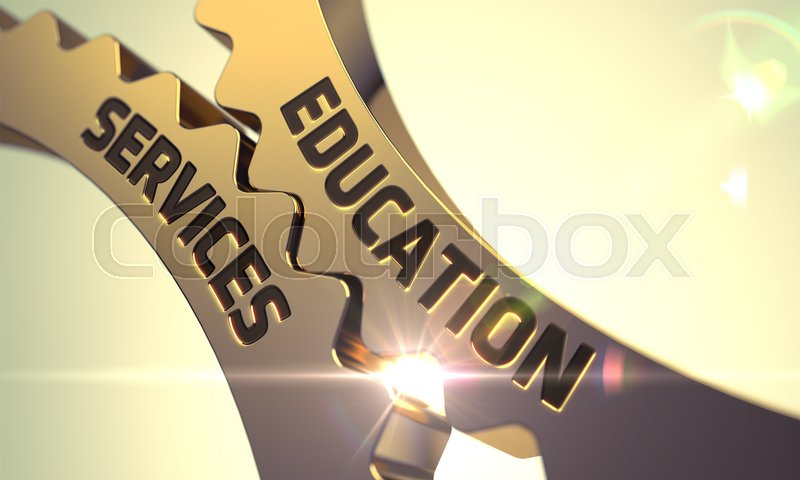 Stock image of 'Education Services - Illustration with Glow Effect and Lens Flare. 3D.'