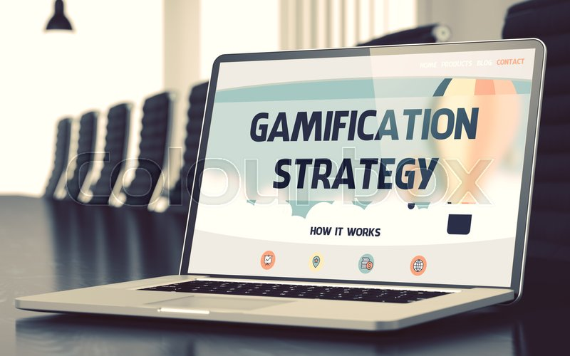 Stock image of 'Gamification Strategy Concept. Closeup Landing Page on Laptop Screen on Background of Meeting Room in Modern Office. Blurred Image with Selective focus. 3D Illustration.'
