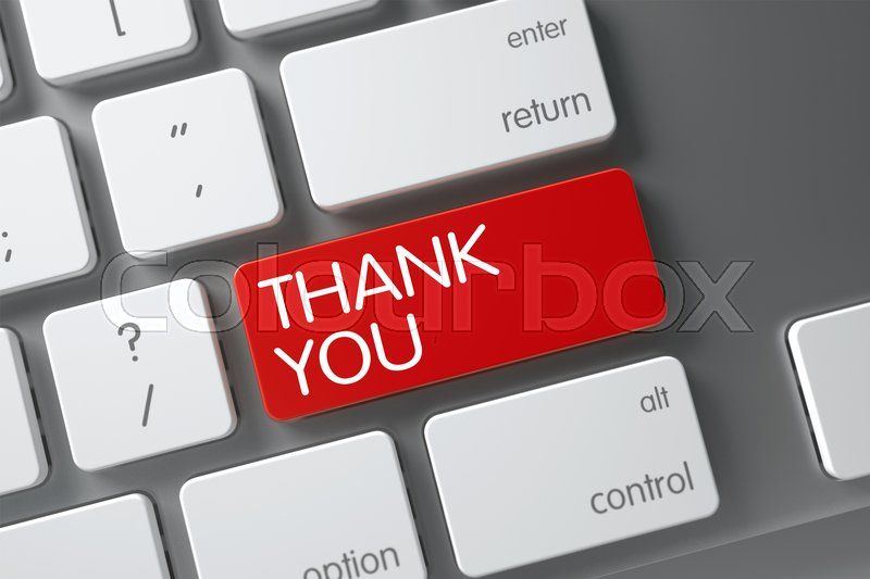 Stock image of 'Thank You Concept Modern Keyboard with Thank You on Red Enter Key Background, Selected Focus. 3D Illustration.'