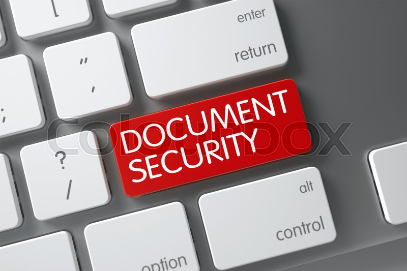 Stock image of 'Concept of Document Security, with Document Security on Red Enter Button on Slim Aluminum Keyboard. 3D Render.'