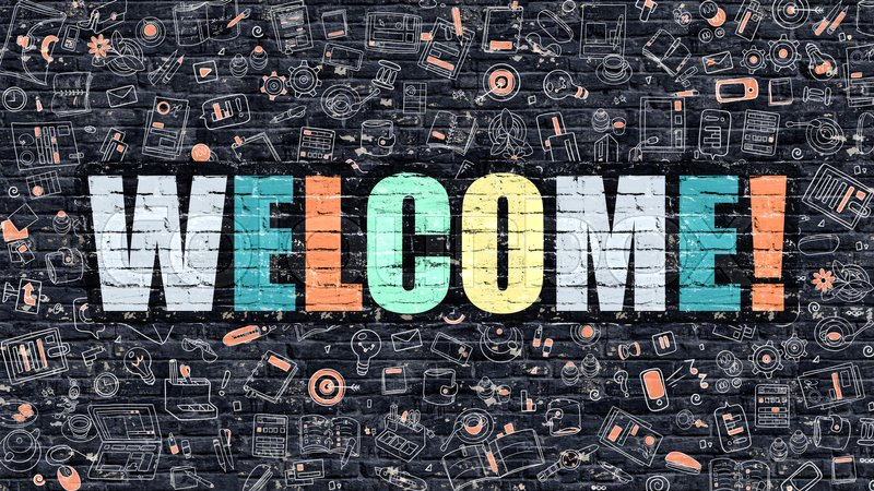 Stock image of 'Welcome - Multicolor Concept on Dark Brick Wall Background with Doodle Icons Around. Modern Illustration with Elements of Doodle Design Style. Welcome on Dark Wall. Welcome Concept. Welcome.'