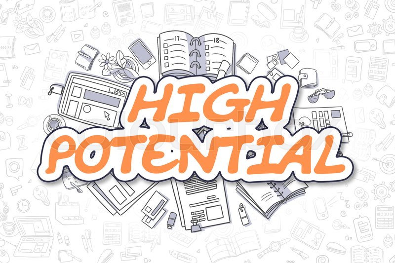 Stock image of 'High Potential - Sketch Business Illustration. Orange Hand Drawn Inscription High Potential Surrounded by Stationery. Cartoon Design Elements. '