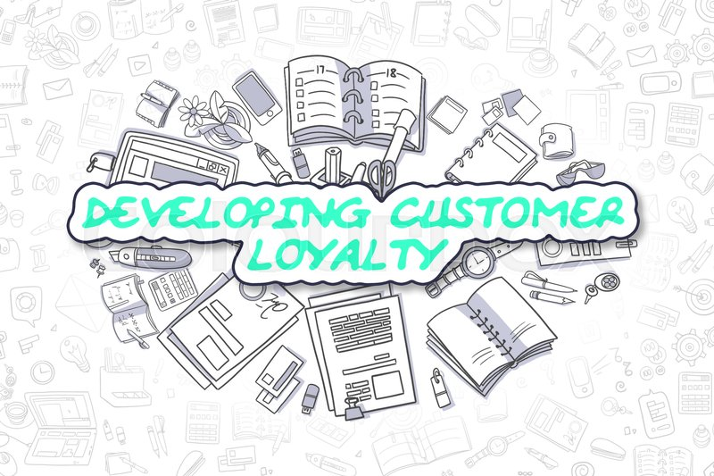 Stock image of 'Green Inscription - Developing Customer Loyalty. Business Concept with Doodle Icons. Developing Customer Loyalty - Hand Drawn Illustration for Web Banners and Printed Materials. '