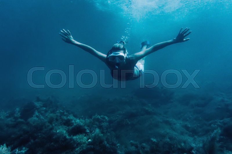 Stock image of 'Underwater image of young woman free diver swimming among seaweed, looking at camera'