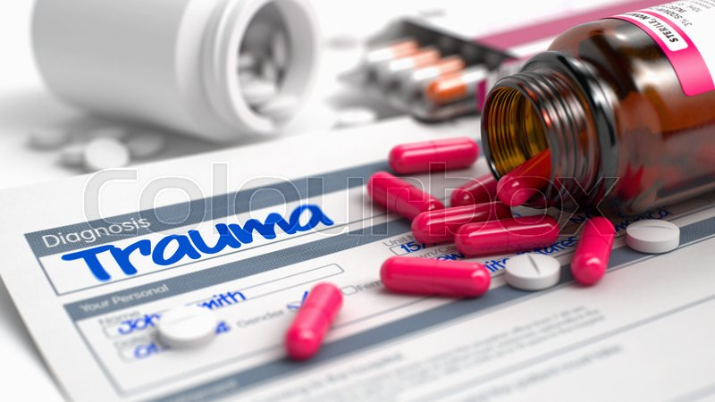 Stock image of 'Trauma Phrase in Medical History. Close View of Medical Concept. Handwritten Diagnosis Trauma in the Disease Extract. Medicaments Composition of Red Pills, Blister of Pills and Bottle of Tablets. 3D.'
