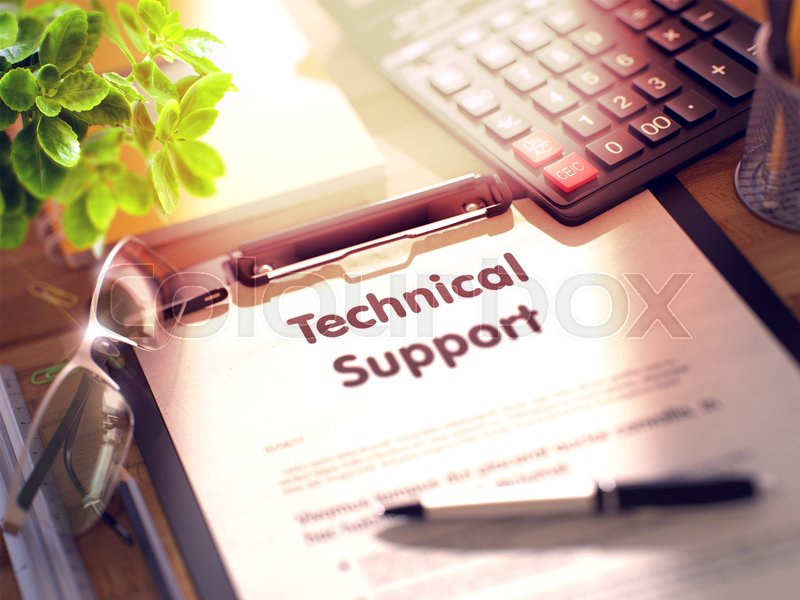 Stock image of 'Technical Support on Clipboard. Composition with Clipboard on Working Table and Office Supplies Around. 3d Rendering. Blurred and Toned Image.'
