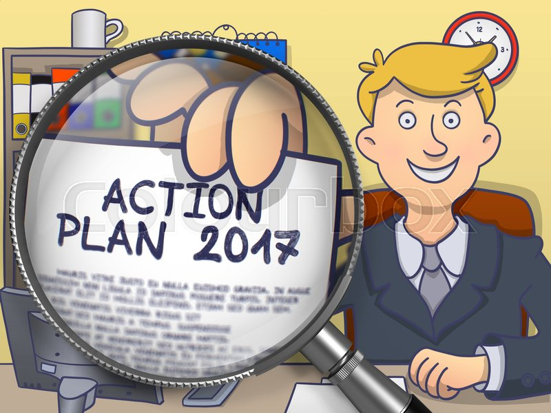 Stock image of 'Action Plan 2017. Man in Office Holds Out through Lens Paper with Inscription. Multicolor Doodle Illustration.'